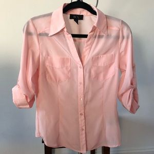 BCX Button-Up Light Pink Dress Shirt